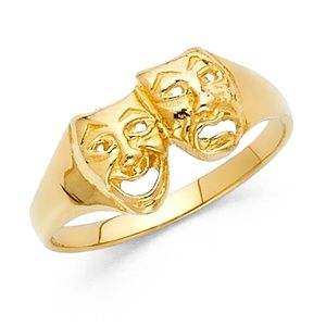Jewelry - 14k Yellow Gold Comedy Tragedy Theater Masks Ring